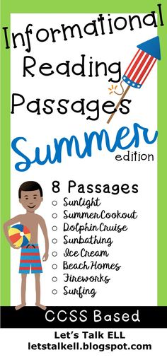 Summer Reading Worksheets with Informational summer-themed texts followed by short comprehension questions for grades 2-6. Answer Key Included!