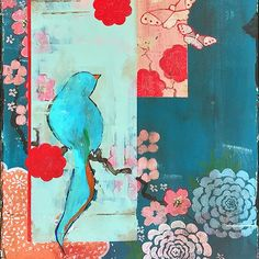 """Kathe Fraga Art, inspired by the romance of vintage Parisian wallpapers and Chinoiserie with a modern twist. """"When We First Met"""", one of a pair, 16x40 on frescoed canvas. (Detail). www.kathefraga.com"""