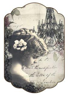 Printable vintage label, sweet girl...
