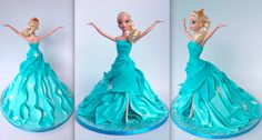 'Elsa' from the movie 'Frozen' cake tutorial Barbie Torte, Bolo Barbie, Barbie Cake, Torte Frozen, Bolo Frozen, Disney Frozen Party, Frozen Birthday, Birthday Cake, Fondant Cakes
