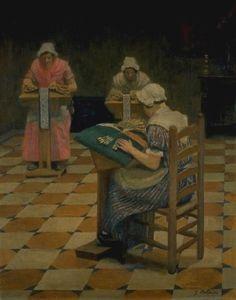 Les dentellières de Bailleul. Huile sur toile de  Jacques-Jean COLPIN (français) Musée Benoît-De-Puydt à Bailleul - FRANCE