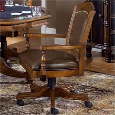 Nassau Game Chair It is gracious seating for poker or dining with swiveling and casters for access. White Dining Chairs, Upholstered Dining Chairs, Table And Chairs, Wooden Office Chair, Mesh Office Chair, Office Chairs, Nassau, Cheap Furniture, Home Furniture