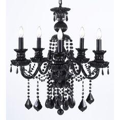 Royal Black Crystal 5-light Chandelier | Overstock™ Shopping - Great Deals on Chandeliers & Pendants
