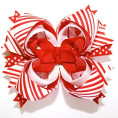 Candy Cane Peppermint and Polka Dots Red White Christmas Stacked Boutique Hair Bow