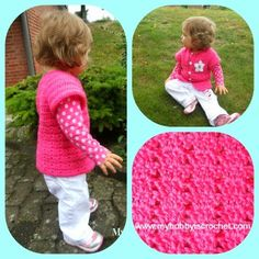 My Hobby Is Crochet: Twin V-Stitch Cardigan - Toddler Size| Free Charted Pattern by Kinga E. | My Hobby is Crochet