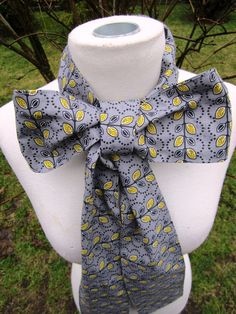 Upcycled Steampunk Clothing, White Rabbit Bow Tie - Alice in Wonderland (Grey and Yellow Cotton Print) Neck Tie, Handmade Costume Accessory. $20.00, via Etsy.