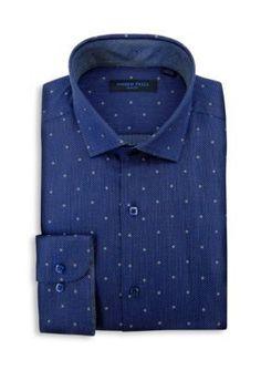 Andrew Fezza  Slim Fit Dot Dress Shirt