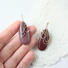 Cherry earrings  Jasper Earrings  Red  Pink  by wirefoxjewellery, $43.00