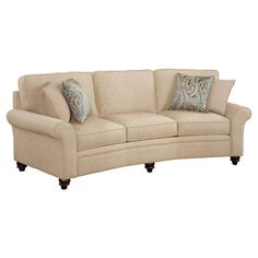 Hardwood conversation sofa with a slight curving design and turned feet.... like the colors & the feet :)