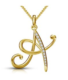 b48bd406c2cf Kataria Jewellers Letter A Gold Plated 92.5 Sterling Silver and Swarovski  Alphabet Initial Pendant Initial Pendant