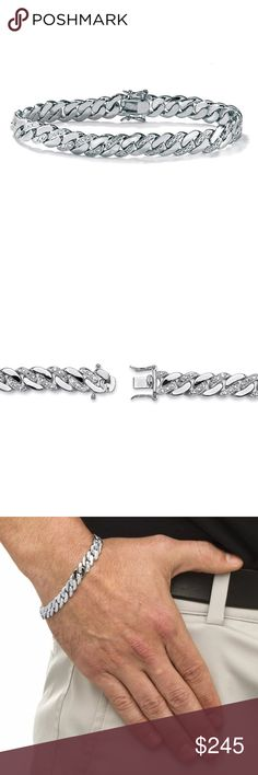 """Men's Diamond Bracelet Platinum Curb Link Men New Brand New Men's Diamond Curb-Link Bracelet Platinum-Plated 8.5"""" (9mm)  Metal Type: Platinum Over Silver  Finish Type:Bright Height: 1/10"""" Length: 8.5"""" Width: 1/3"""" Style: Link Clasp type: Box  STONE INFORMATION Natural Diamonds  Quantity: 2 Carat Weight: .010 Carat TW Size (mm): 1 Cut: Round Accessories Jewelry"""