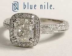Heirloom Halo Micropavé Cushion Cut Diamond Engagement Ring in Platinum #BlueNile