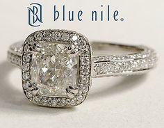 Heirloom Halo Micropavé Cushion Cut Diamond Engagement Ring in Platinum #BlueNile