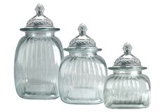 Set of 3 Pineapple Canisters, Clear on One Kings Lane today