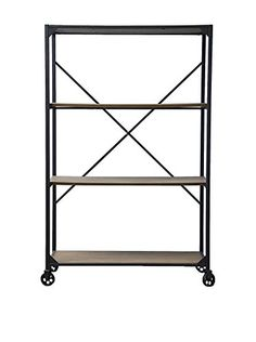 www.myhabit.com  Uniting utility and convenience, this bookcase makes the most of a basic, solid design; vintage/industrial-inspired design features a distressed ash-veneer wood top and shelf and is framed in durable rustic iron metal in bronze, incorporates a striking X stretcher and has casters for mobility