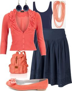 """""""Coral & Navy Blue"""" by kyrie-akers-hubbard on Polyvore"""