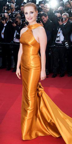 Jessica Chastain in Armani Privé Oscar Dresses, Gala Dresses, Red Carpet Dresses, Satin Dresses, Long Dresses, Festival Looks, Jessica Chastain, Celebrity Look, Celebrity Dresses