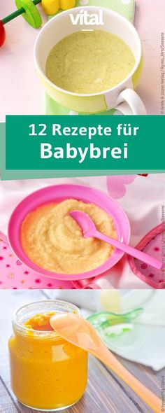 Homemade baby food-Gesunde Babynahrung selbst gemacht Making baby porridge yourself is not difficult. We have 12 different baby food recipes for you. Baby Food Recipes Stage 1, Pulp Recipe, Healthy Baby Food, Food Baby, Making Baby Food, Valeur Nutritive, Lactation Recipes, Food Charts, Maila