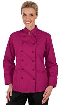 Style # 83113: WILD BERRY: Chaqueta de Chef Tradicional para Mujer - Botones Forrados en Tela - 65/35 Poliéster/Algodón