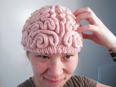 Brain Hat by Alana Noritake. This would be so fun in different colors.