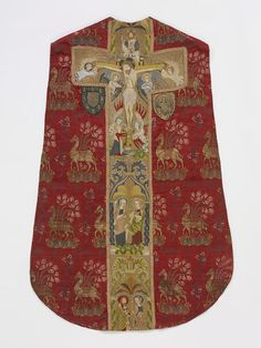 Chasuble | V&A Search the Collections Chasuble      Place of origin:      Italy (woven)     England, Great Britain (embroidered)     Date:      1400-1430 (made)     Artist/Maker:      unknown (production)     Materials and Techniques:      Brocaded silk lampas, embroidered with silk and silver-gilt threads, lined with silk     Museum number:      T.256 to B-1967     Gallery location:      Medieval and Renaissance, room 10, case 11