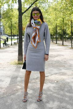 Giovanna Battaglia at Paris Fashion Week with the Hermes Concours d'Etrier cashmere/silk shawl.