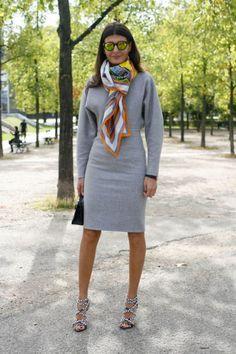 Giovanna Battaglia at Paris Fashion Week with the Hermes Concours d'Etrier cashmere/silk shawl.