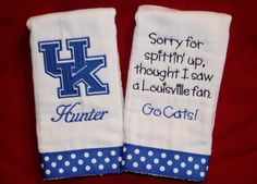 """Wildcats """"Sorry For Spittin' Up....""""  Burp Cloth Set by BebesStitches on Etsy"""