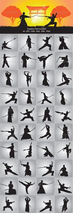 Wushu and Samurai Silhouette in this files include ai and eps version. you can open it with adobe illustrator cs and other vector supporting applications. i hope you like my design, thanks Created: ] SAMURAI RODIN NINJA VIKING ROMAN WARRIOR Samurai Poses, Ronin Samurai, Samurai Art, Samurai Warrior, Samurai Drawing, Samurai Swords, Silhouette, Sword Poses, Fighting Poses