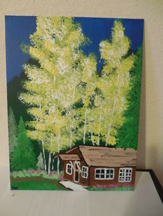 """Original 9"""" x 12"""" Acrylic Painting. """"Red River Cabin in the Woods"""" on Etsy, $15.00"""