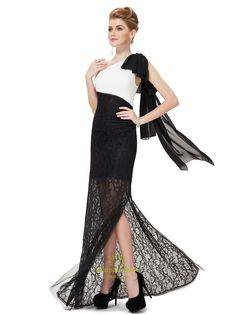 White And Black Lace One Shoulder Prom Dress,White Top Black Bottom Formal Dress