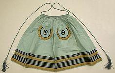 Apron  Date: ca. 1850 Culture: American Medium: silk Dimensions: Waist: 12 1/2 in. (31.8 cm) Credit Line: Gift of Mrs. Alice Hawke Reimer, 1953 Accession Number: C.I.53.44.5