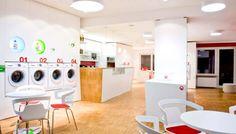 communicative meeting modern laundry-room interior café combination