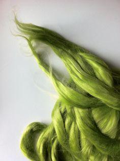 Ramie Roving : Ramie fibers in tones of Lime called Caipirinah by DivinityFibers on Etsy https://www.etsy.com/listing/231005576/ramie-roving-ramie-fibers-in-tones-of