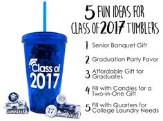 Celebrate the Class of 2017 with this Blue double wall acrylic Tumbler with matching lid and straw. A Great graduation gift for high school and college graduate students.