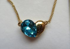 Blue Crystal Lovers Heart Pendant Necklace