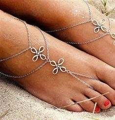 PAIR of Boho silver anklets with attached toe ring Moon Charm, Heart Charm, Blue Beads, Pearl Beads, Trendy Fashion Jewelry, Unique Jewelry, Beaded Foot Jewelry, Silver Anklets, Twist Ring