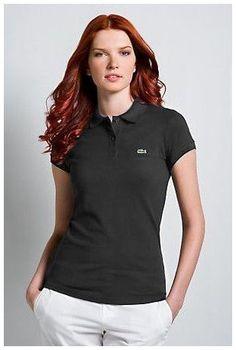polos pas cher ralph lauren! Boutiques de Polo Lacoste Femmes revers court T  Shirt noir e9866f4770fe