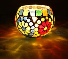 Designer Indian Home Decorative Glass Candle Holder Christmas Gift >>> Check this awesome product by going to the link at the image. Mason Jar Candle Holders, Christmas Candle Holders, Candle Holder Decor, Glass Painting Designs, Paint Designs, Mosaic Art, Mosaic Glass, Mosaics, Mosaic Bottles