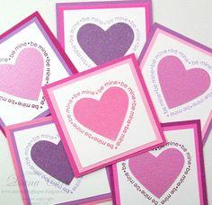 Handmade Pink and Purple Glitter Valentines - Kids Classroom Valentine Cards
