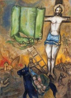 Marc Chagall (Bielorusian-French, Yellow Crucifixion, N/D Oil on canvas Centre Pompidou, Paris, France Marc Chagall, Jewish Art, Religious Art, Chagall Paintings, Art Ancien, Modigliani, Fauvism, Norman Rockwell, Art Moderne
