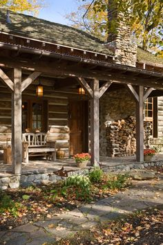 Dream home - Country living - I have always wanted to live in a log cabin way out in the country. Dream home - Country living - I have always wanted to live in a log cabin way out in the country. Cabin Porches, Farmhouse Front Porches, Rustic Porches, Country Porches, Fall Porches, Southern Porches, Southern Homes, Country Homes, Southern Style