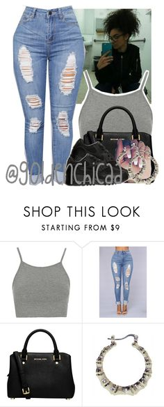 """""""*Thinks about school* Ughh"""" by g0ldenchicaa ❤ liked on Polyvore featuring Topshop, MICHAEL Michael Kors and NIKE"""