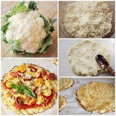 Cauliflower pizza dough, amazing and delicious - Recetas - Veggie Recipes, Vegetarian Recipes, Easy Cooking, Cooking Recipes, Pizza Vegana, My Favorite Food, Favorite Recipes, Healthy Recepies, Good Food