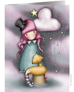 Gorjuss Cards - The Dreamer from Santoro London. This amazing greeting card features Gorjuss artwork by santoro Design team. The Dreamers, Decoupage, Art Fantaisiste, Santoro London, Art Mignon, Cute Images, Copics, Prismacolor, Whimsical Art