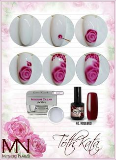 nailart step by step Rose Nails, 3d Nails, New Nail Art, Nail Art Diy, Nail Art Fleur, Mystic Nails, Nail Techniques, Flower Nail Art, Art Flowers