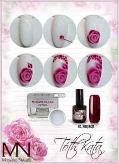 nailart step by step Rose Nails, 3d Nails, Pink Nails, New Nail Art, Nail Art Diy, Nail Art Fleur, Mystic Nails, Nail Art Techniques, Flower Nail Art