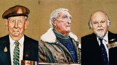 A collage of 3 painting by Halifax painter Catherine Jones. Her series includes German as well as Canadian military veterans.
