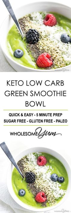Simply the best keto low carb green smoothie bowl recipe - and it actually tastes delicious! Quick, easy, healthy, paleo, gluten-free, diabetic friendly and sugar-free, too.