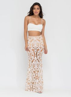 You're bound to experience filigreed bliss in this flirty crop top and maxi skirt set! #filigree #mesh #sheer #sexy #romance #croptop #ootn #inspo #gojane
